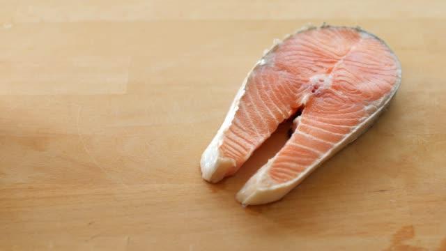 healthy food fresh salmon red fish for steak - salmon steak stock videos & royalty-free footage