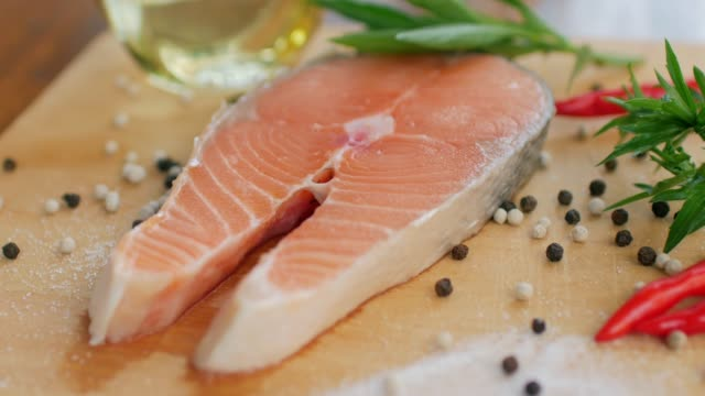 healthy food fresh salmon red fish for steak - salmon stock videos & royalty-free footage