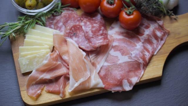 healthy italian antipasto - ketogenic diet stock videos & royalty-free footage