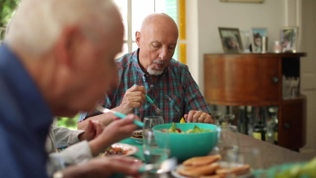 healthy lunch for senior people - dining room stock videos & royalty-free footage