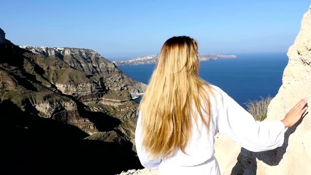 healthy morning in santorini - blonde hair stock videos & royalty-free footage
