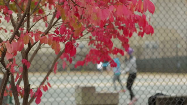 Las personas saludables niñas jugando al tenis en la cancha del otoño