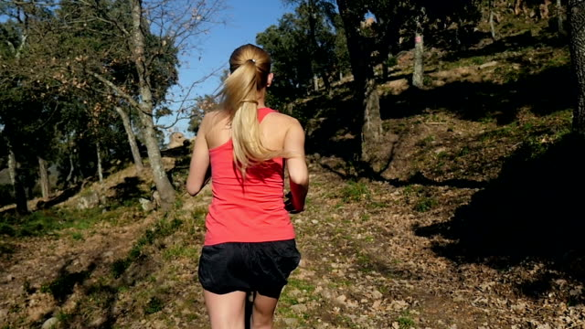 healthy running in forest - endurance stock videos & royalty-free footage