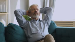 Healthy serene senior man napping relaxing on couch at home
