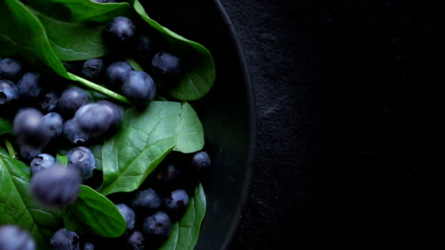 healthy spinach and blueberry - antioxidant stock videos & royalty-free footage