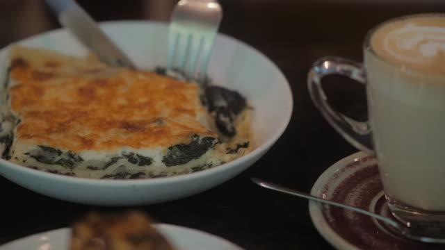 healthy spinach and cheese italian lasagna - lasagna stock videos & royalty-free footage