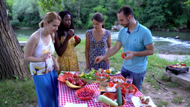 healthy vegan eating , picnic in nature - morality stock videos & royalty-free footage