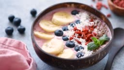 Healthy Vegan Smoothie Bowl Topped With Superfoods