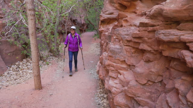 healthy white female hiker walking through dry climate environment - sandstone stock videos & royalty-free footage
