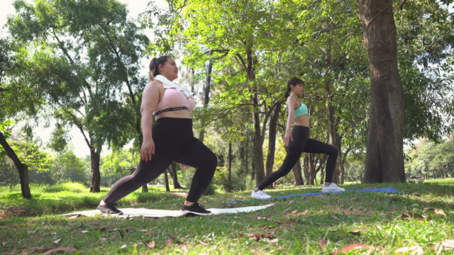 healthy young large build woman and friend exercising yoga outdoors in public park - overweight yoga stock videos & royalty-free footage
