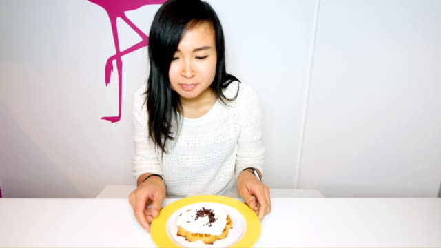 healthy young woman fighting against the food temptation - unhealthy eating stock videos & royalty-free footage