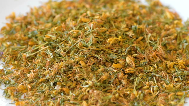 Heap of herb tutsan, medicinal herbal blends
