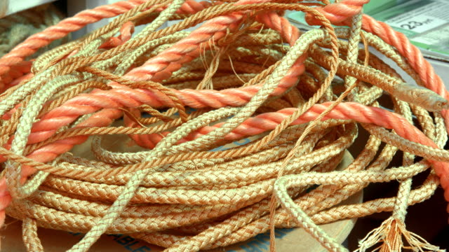 Heap of orange rope of different size