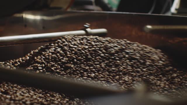 vídeos de stock e filmes b-roll de heap of roasted seeds in machine at factory - coffee drink
