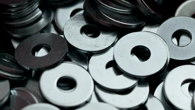 heap of steel flat washer - washer stock videos and b-roll footage