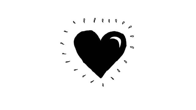 heart beat animation v1 black - pulsating stock videos & royalty-free footage