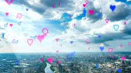 Heart Emoji icons flying up from buildings to the sky representing dating app. For social networks featuring digital connections and networks. Time Lapse Over Cityscape