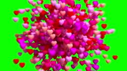 4K. Heart Icon Explosion. Green Screen.