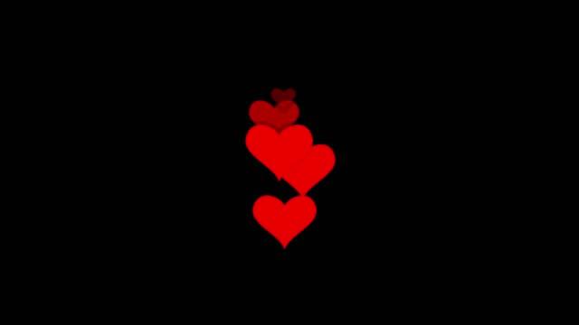 vidéos et rushes de les icônes de coeur se déplacent vers le haut dans la direction droite sur le fond transparent, symbole d'amour pop-up de modèle plat, le concept du bouton comme, compteur de barre, élément de conception, émotion, médias sociaux, jour de valentine - élément graphique
