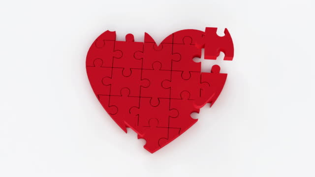 heart jigsaw - valentines background stock videos & royalty-free footage