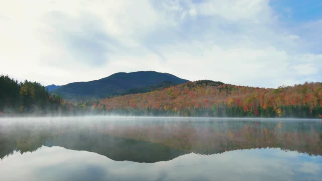 heart lake in adirondack mountains new york state usa during autumn - hill stock videos & royalty-free footage