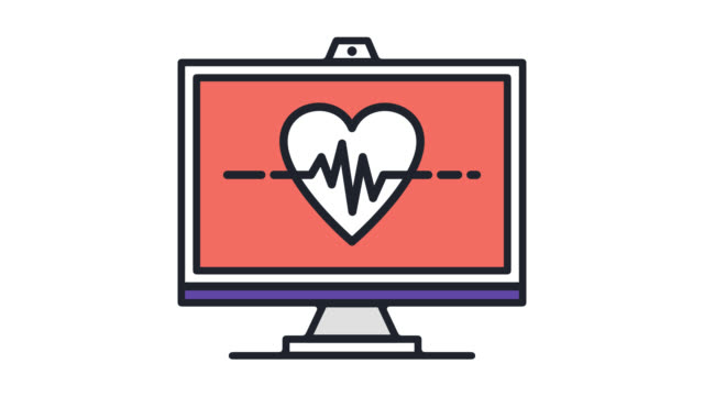 herz-monitor flache linie symbol animation mit alpha - biomedical illustration stock-videos und b-roll-filmmaterial