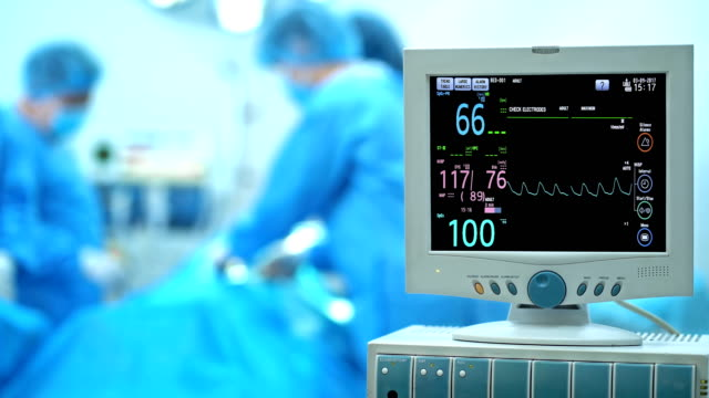 4k heart monitor in operation room - operation stock videos & royalty-free footage