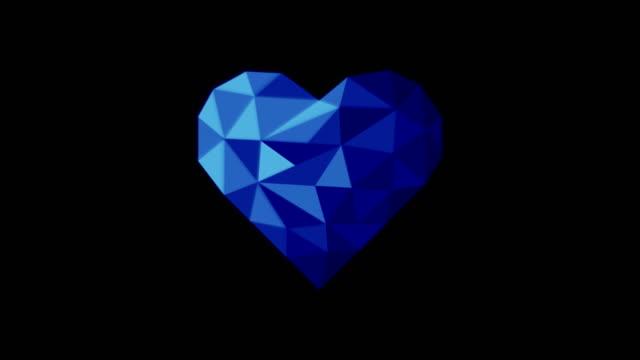 vídeos de stock, filmes e b-roll de coração poli da cor azul - articulação facetária
