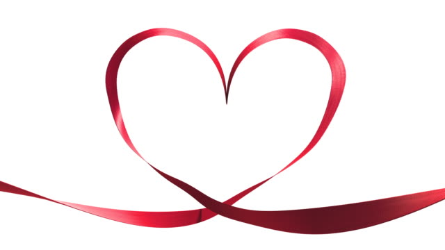 heart ribbon effect + alpha channel. - ribbon sewing item stock videos & royalty-free footage