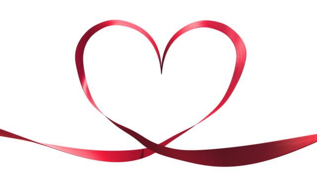 heart ribbon effect + alpha channel. - ribbon stock videos & royalty-free footage
