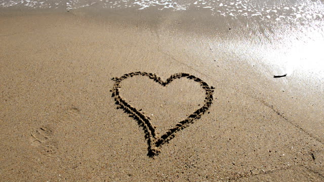 Heart shape at the beach