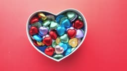 heart shape candy in a box