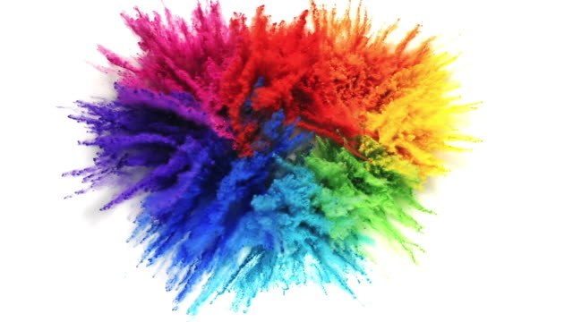 a heart shape created with rainbow colored powder exploding in super slow motion and closeup on white background - passion stock videos & royalty-free footage