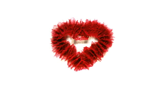 heart shape created with red powder exploding in super slow motion and closeup on white background - valentine's day stock videos & royalty-free footage