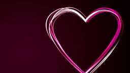Heart shape drawing by pink color brush on dark purple background. Happy Valentine Day or wedding. Loopable. Empty space for text. Loopable.