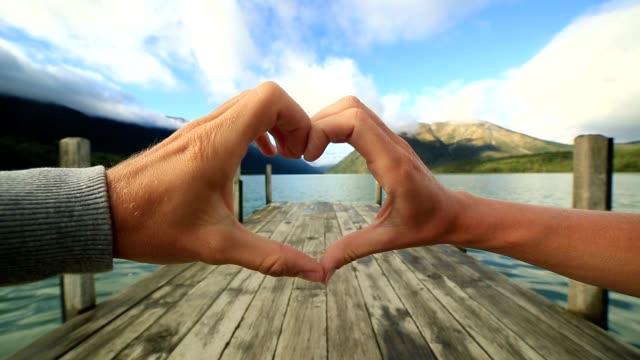 Heart shape finger frame on natural landscape