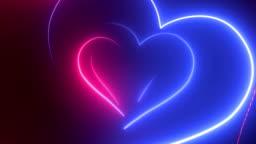Heart Shape, Glowing Neon Lights - Loopable 4K