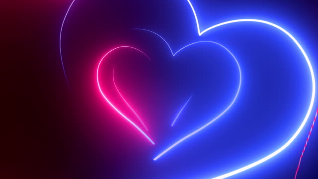 heart shape, glowing neon lights - loopable 4k - heart stock videos & royalty-free footage