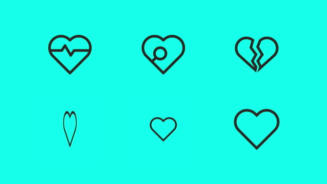 heart shape line icons - vector animate - line icon stock videos & royalty-free footage