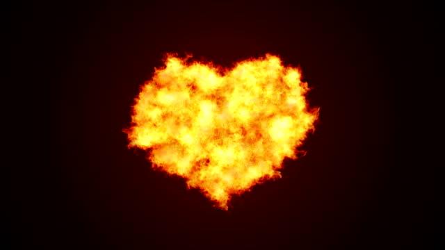 vídeos de stock, filmes e b-roll de coração forma amor fogo fundo (canal alfa) - 4 k de resolução - cupido