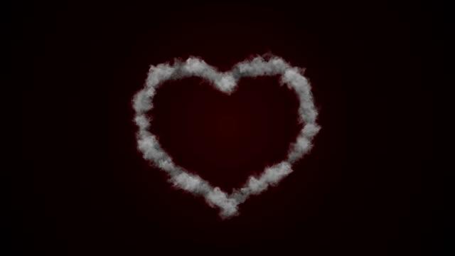 vídeos de stock, filmes e b-roll de coração forma amor fumo fundo (canal alfa) - 4 k de resolução - amor à primeira vista