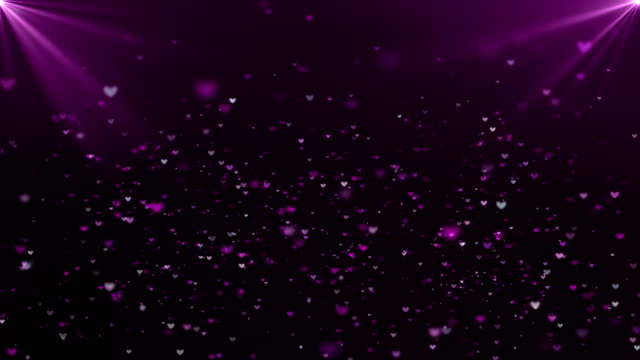 Heart Shape Particles Flowing with Flare on Dark Background, Valentine's Day Concept