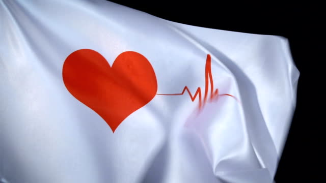 heart shape pulse trace flag waving in dark - listening to heartbeat stock videos & royalty-free footage