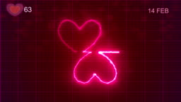 Heart Shape Pulse Trace, Loop Animation, Valentine's Day