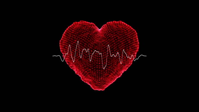 heart shape with ekg heart monitor /loopable - pulsating stock videos & royalty-free footage
