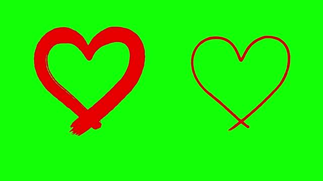 vidéos et rushes de marqueurs en forme de coeur animés, main dessinée coeur forme animation écran vert - mèche colorée