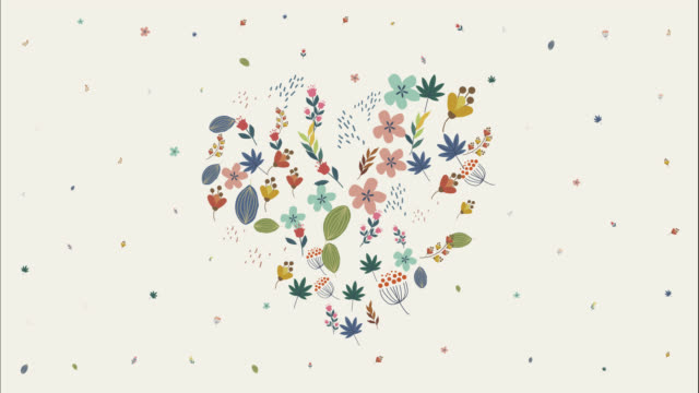 stockvideo's en b-roll-footage met het symbool van het hart vormige gekleurde bloemen op gele achtergrond - bloemenmotief