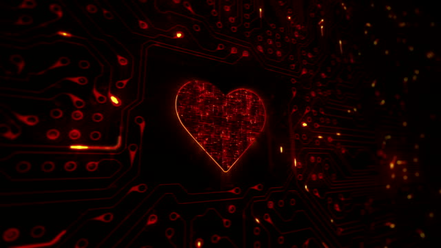 heart with circuit board. technology. loopable. orange. - valentine's day stock videos & royalty-free footage