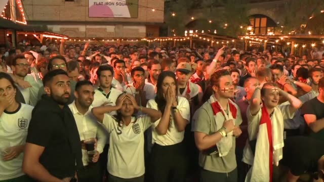 heartbroken fans watch in london as england crash out of the world cup after losing to croatia 21 in the semi finals - defeat stock videos & royalty-free footage