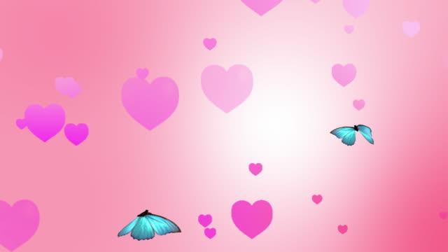 vídeos y material grabado en eventos de stock de corazones y animación de la mariposa - bucle - mariposa lepidópteros